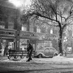 Xmass Classic! Great B+W image making! Jimmy Stewart in downtown Bedford Falls, a.k.a., on the set of It's a Wonderful Life.