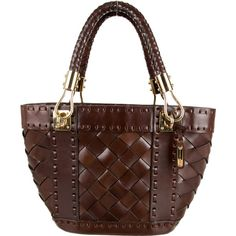 Pre-owned Michael Kors Woven Handle Bag (€230) ❤ liked on Polyvore featuring bags, handbags, brown, brown purse, top handle handbags, genuine leather handbags, leather man bags and michael kors purses
