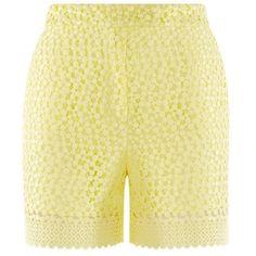 Related Aurelia Shorts ($100) ❤ liked on Polyvore featuring shorts, yellow shorts, yellow high waisted shorts, yellow lace shorts, highwaist shorts and lace shorts
