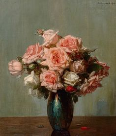 Jan Bogaerts Pink Roses in a Vase 1913