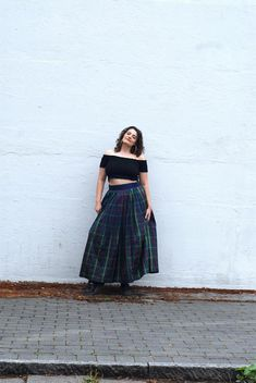Gypsy like dark satin skirt, with checkered pattern, blue band waist and green/yellow/red lines Blue Band, Satin Skirt, Levi Shorts, The Girl Who, Perfect Fit, Gypsy, Tulle, Etsy Shop, Dark