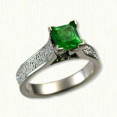 Maureen Engagement Ring Triangle/Heart Knot Pattern set with a Green Tsavorite Garnet Princess Cut 1.15ct 5.7mm