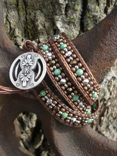 Leather Wrap Bracelet - Turquoise, Brown and Silver Triple Wrap. $45.00, via Etsy.