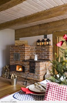 Pic from a farmhouse in Europe. This brick woodstove rocks! Shop Interior Design, Interior Decorating, Brick Bbq, French Style Homes, Hygge Home, Bright Kitchens, Farmhouse Style Kitchen, Wooden House, Home Decor Furniture