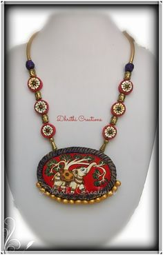 Hand painted Terracotta pendant, kalam kari work on Terracotta Fancy Jewellery, Funky Jewelry, Bead Jewellery, Jewelry Art, Beaded Jewelry, Handmade Jewelry, Jewelry Design, Fashion Jewelry, Jewelery
