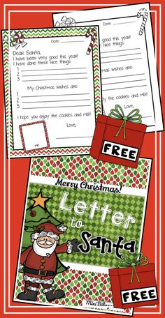 Super Cute templates both in color and B & W. Free Santa Letter Template, Free Letters From Santa, Letter Templates, Merry Chistmas, Christmas, Celebrations, Classroom, English, Lettering