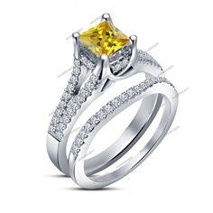 7MM Princess Cut Yellow Sapphire 3.26 CT Split Shank Bridal Ring Set Sz 5-12 AVL #aonedesigns