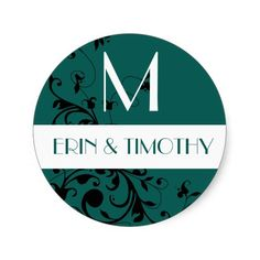 Teal Damask Wedding Monogram Initial Stickers