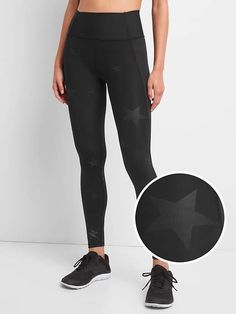 47e11211f2 Gap Womens Gfast High Rise Sculpt Revolution Leggings In Matte Shine Print  High Shine Stars Black
