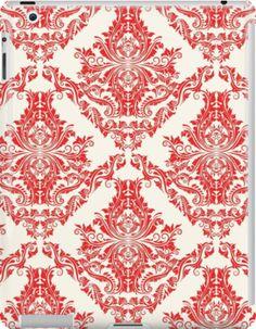Classic Red & White Damask Pattern by happycheek