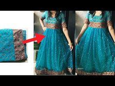 Convert Old Saree in to Designer Long Gown cutting and stitching Saree Gown, Sari Dress, Anarkali Dress, Silk Kurti Designs, Sari Blouse Designs, Indian Wedding Gowns, Indian Gowns Dresses, Long Dress Design, Stylish Dress Designs