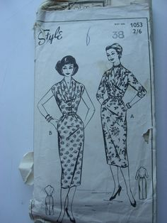"1950s / 1960s Dress - 38"" Bust - Style 1053 - Vintage Sewing Pattern by BlitzAndGlamour on Etsy https://www.etsy.com/uk/listing/499446929/1950s-1960s-dress-38-bust-style-1053"