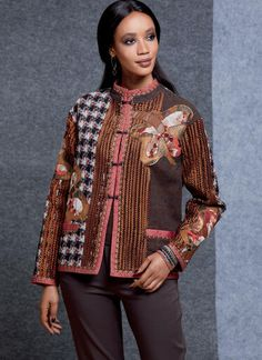 V1608   Misses' Reversible Jacket   Vogue Patterns Baby Clothes Patterns, Coat Patterns, Clothing Patterns, Baby Patterns, Vogue Patterns, Patron Simplicity, Sequin Fabric, Jacket Pattern, Silk Crepe