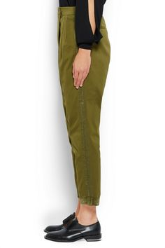 Givenchy   Tapered pants in silk-trimmed army-green cotton-twill   NET-A-PORTER.COM