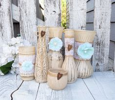 Shabby Wedding Vases Beige and Mint Shabby Chic by SoFrickinCute, $82.00