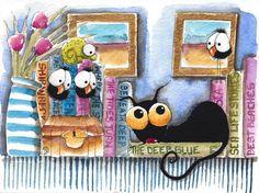 Original watercolor painting whimsical black cat bird crow book shelf flower  #IllustrationArt