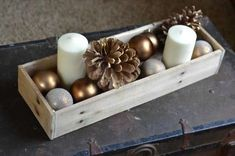 Items similar to Wood Pallet Tray Candle Holder / Reclaimed Wood Centerpiece Tray / Rustic Upcycled Box Crate on Etsy Wooden Box Centerpiece, Wood Centerpieces, Christmas Table Centerpieces, Candle Tray, Diy Candle Holders, Diy Candles, Recycled Christmas Decorations, Xmas Decorations, Pallet Decorations