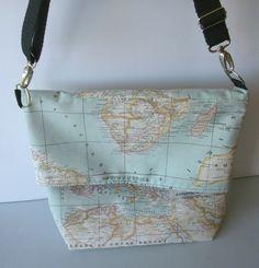 Lolahn Handmade bag tasche alegria calidad hecho a mano elegante accesorios complementos bolsos loneta algodon estampados color mapamundi rosa marron azul