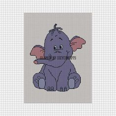 TOO CUTE ELEPHANT BABY #2 CROCHET PATTERN GRAPH AFGHAN PURPLE | CozyConcepts - Patterns on ArtFire