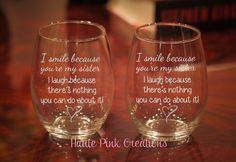2 Sister Wine Glass, Sibling Wine Glass, Engraved Sister Wine Glass, Sister Gift, Gift for Sister, Personalized Sister Gift, Set of 2 by HautePinkCreations on Etsy https://www.etsy.com/listing/254117125/2-sister-wine-glass-sibling-wine-glass