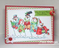 Jolly Carolers (Sku#U4316) Art impressions Christmas snowman card.