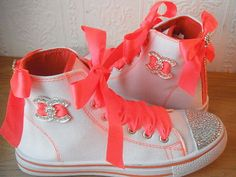 SPARKLING GIRLS HI TOPs , CONVERSE STYLE TRAINERS SHOES CUSTOMISED BLING4 ebay seller: noggernorris123