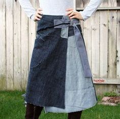 This item is made to order Please allow up to weeks to ship Thank you! Frayed edge denim wrap skirt with chrome ring buckles for easy sizing Sewing Clothes, Diy Clothes, Denim Wrap Skirt, Wrap Skirts, Denim Ideas, Denim Crafts, Recycled Denim, Mode Inspiration, Diy Fashion