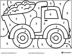 **FREE** Color By Number Truck Worksheet. Printable color by number coloring pages. Perfect for preschoolers to help them develop eye-hand coordination,