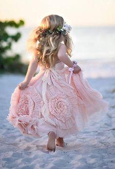 pink flower girl dresses, cute flower girl dresses, long flower girl dresses, spaghetti straps flower girl gowns