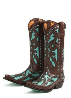 Brown And Teal Cowgirl Boots Boot Hto