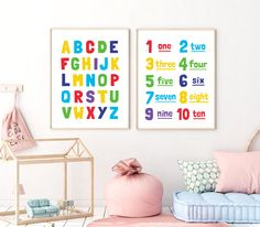 Alphabet & Numbers Printable Art, Set of 2, Nursery Decor, Alphabet Print, Playroom Wall Art, ABC Poster, Nursery Prints *INSTANT DOWNLOAD* Pastel Nursery, Nursery Prints, Printable Numbers, Printable Wall Art, Abc Poster, Printing Websites, Alphabet Print, Alphabet And Numbers, Typography Art