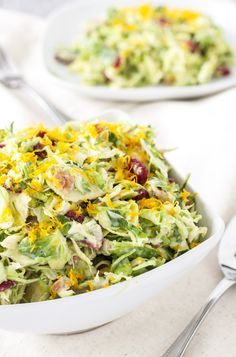 Cranberry Orange Brussels Sprout Slaw