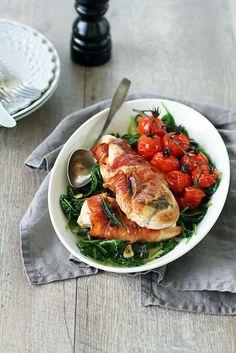 Prosciutto-Wrapped Chicken with Garlic Spinach