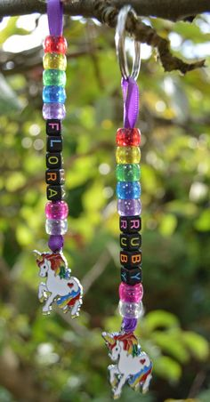 PERSONALISED Unicorn Keyring Keychain, Any Name, Childrens Party Present (Black or White Unicorn) You are in the right place about Beading brazalet Here we offer you the most beautiful pictures about Diy For Kids, Crafts For Kids, Summer Crafts, Crochet Pony, Pony Bead Crafts, Beaded Crafts, Presents For Girls, Presents For Children, White Unicorn