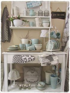 Love the idea of repurposing an old desk, or armoire and using it for kitchen storage.