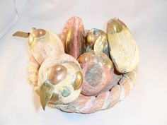 Vintage Fruit & Tray / Platter Ceramic/Stone Brass / by KathiJanes, $69.00