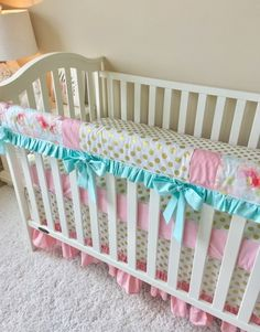 Candy Pink, Mint, and Watercolor Blush Floral Bumperless Crib Bedding