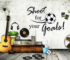 Shoot for Soccer Wall stickers Quotes Decal Removable Mural Deco Vinyl Home Kids