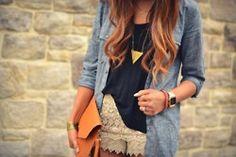 amber clutch, lace shorts, denim shirt, & triangle pendant