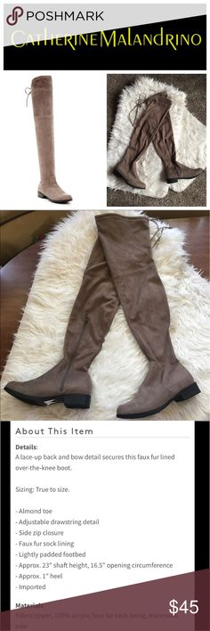 🍁Brand new OTK boots 🍁 Catherine Melandrino brand new with sticker taupe suede boots size 8.5. Originally $150. Get these boots now and get the jump on fall boots before everyone starts buying them!!! Get these awesome suede taupe Morcha faux fur over the knee boots. Brand new with part of the sticker from the Rack. Size 8.5 Catherine Malandrino Shoes Over the Knee Boots
