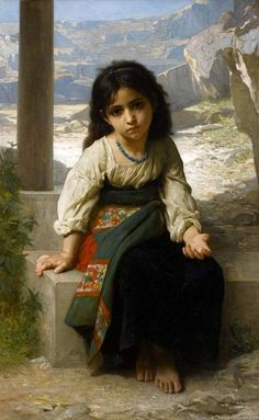 William Bouguereau The Little Beggar Painting