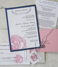 Navy and pink invitation suite