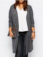 Appealing   Plain Plus Size  Cardigan