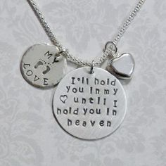 I'll hold you in my heart until I hold you in Heaven Hand Stamped Sterling Silver Necklace - Mothers Memorial Keepsake Necklace by #DolphinMoonCreations #etsyjewelry