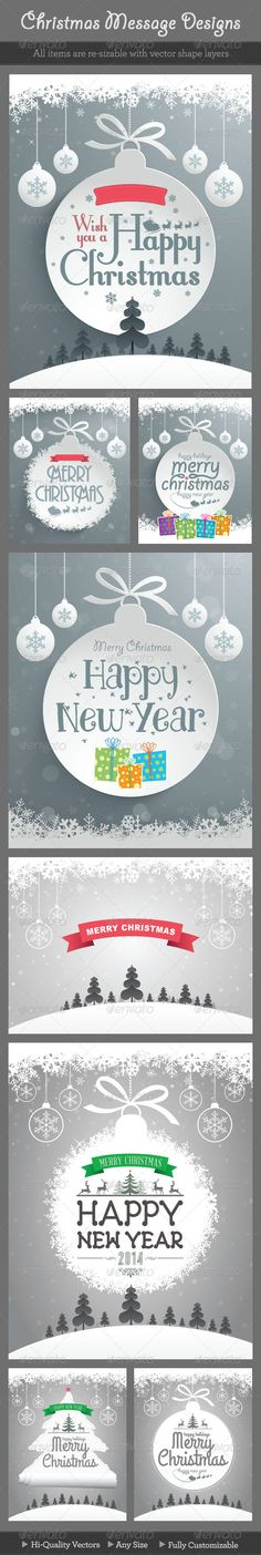 Christmas Message Designs #GraphicRiver Christmas message backgrounds. Easy editable ornaments with each layers. EPS 10 file.