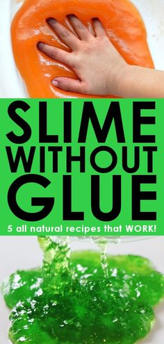 Looking for easy recipes for making slime without glue? These recipes are glue free and completely non-toxic! No glue, no borax, no contact solution! #slime #slimewithoutglue #noboraxslime #allnaturalslime #nontoxicslime #kidsactivities #messyfun