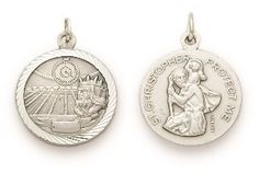St. Christopher Sterling Silver Sports Medal (Round) - Boys Swimming