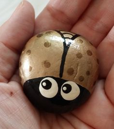 This is a little hand painted bug rock. I choose rocks by hand from the Santa Cruz mountains in California. Each one is hand painted with a slightly