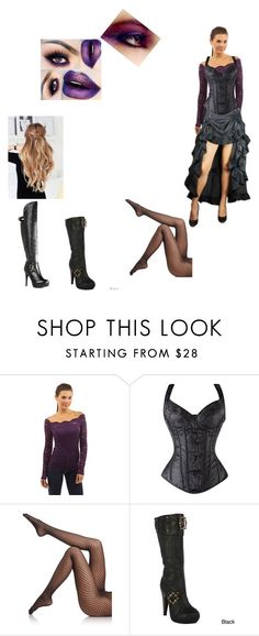 """""""Black Corset w/purple"""" by mjwat ❤ liked on Polyvore featuring Wolford, Ellie, JustFab and NYX"""