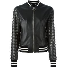 Philipp Plein Pelle 25 bomber jacket ($3,566) ❤ liked on Polyvore featuring outerwear, jackets, black, genuine leather jackets, studded leather jacket, leather bomber jacket, star jacket and blouson jacket